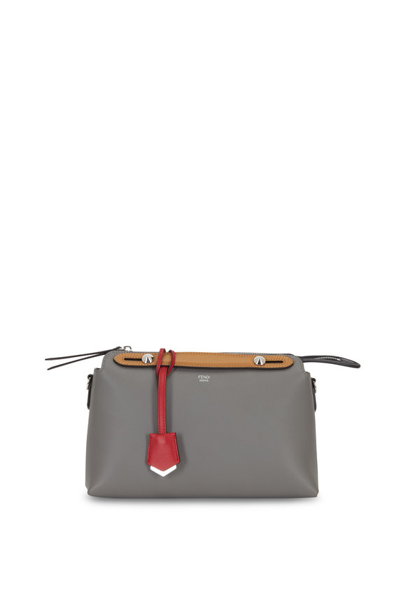 Fendi By The Way Dark Gray Leather Boston Bag