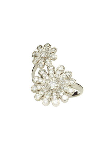 Nam Cho - White Gold Double Daisy Diamond Ring