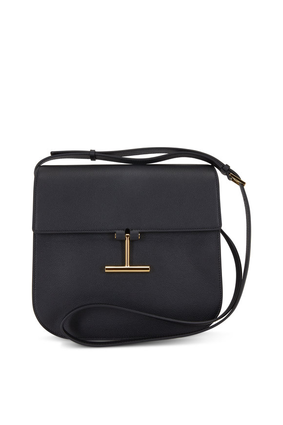 Tom Ford Tara Black Leather T Clasp Large Crossbody