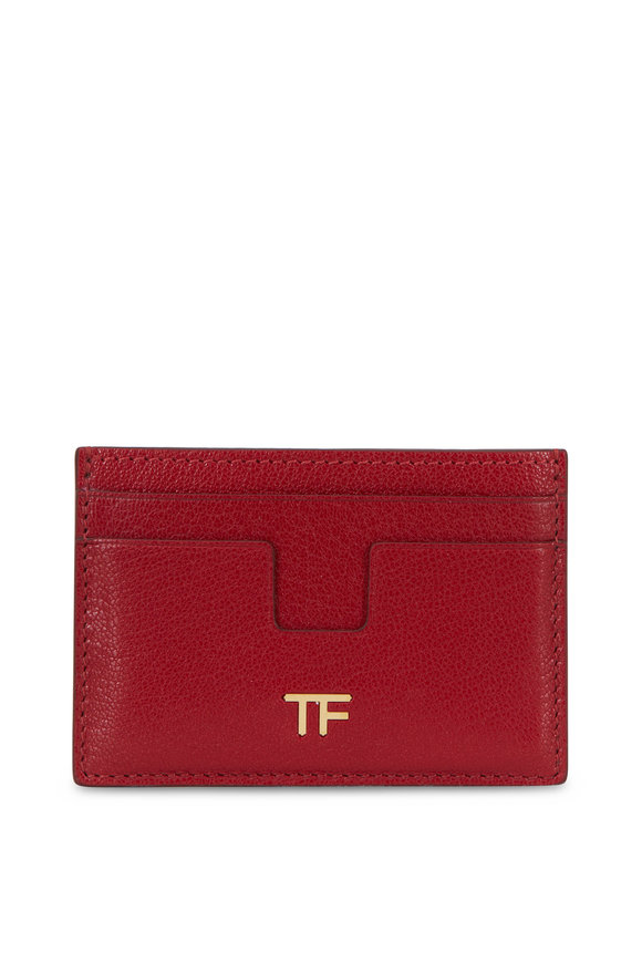 Tom Ford Dark Red Leather Small Slim Card Case