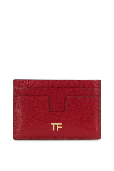 Tom Ford - Dark Red Leather Small Slim Card Case