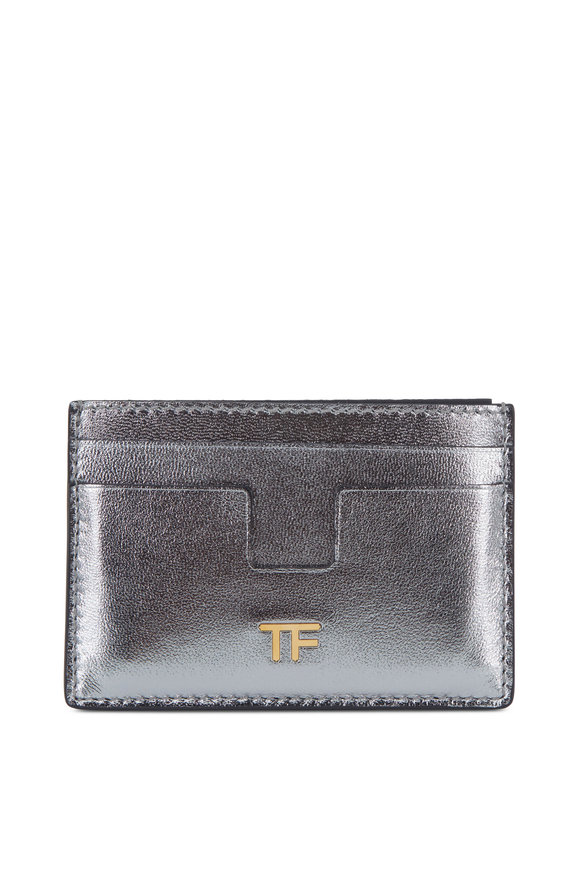 Tom Ford Silver Leather Small Slim Card Case