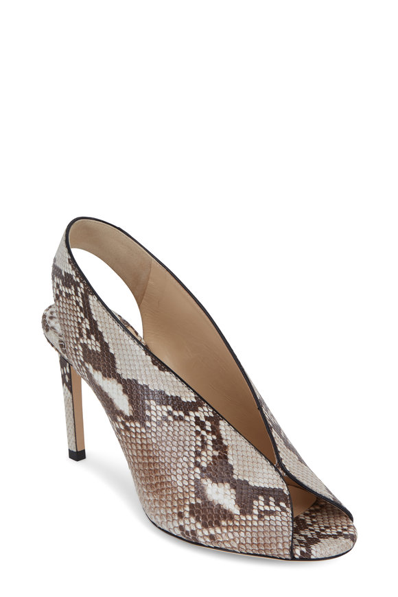 Jimmy Choo Shar Natural Matte Python Slingback, 85mm