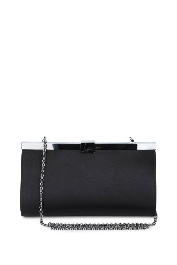 Christian Louboutin Palmette Black Satin Clutch