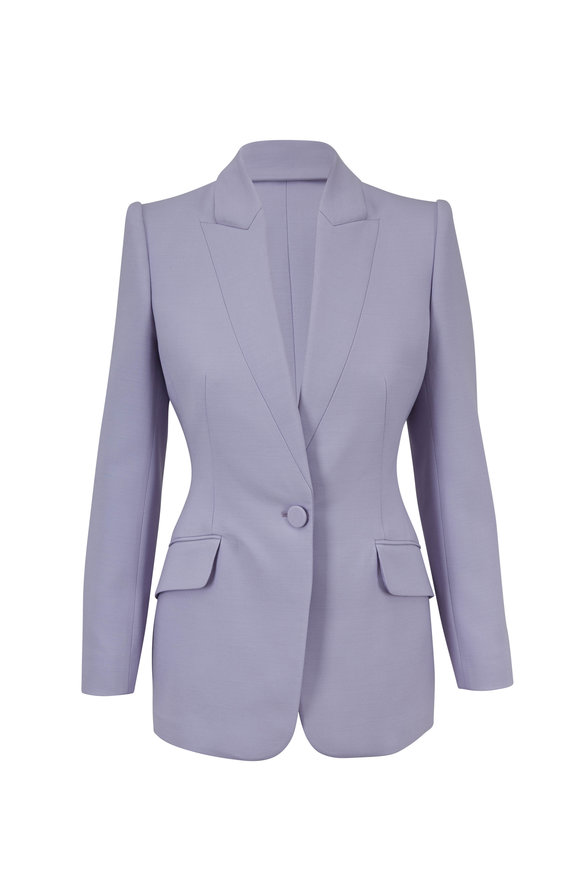 Alexander McQueen Lilac Wool & Silk Single Button Blazer