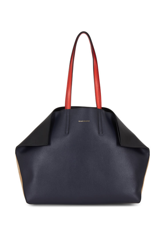 Alexander McQueen Navy Blue Leather Butterfly Tote