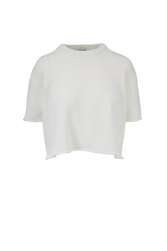Thom Browne White Wool Boxy Crop Sweater