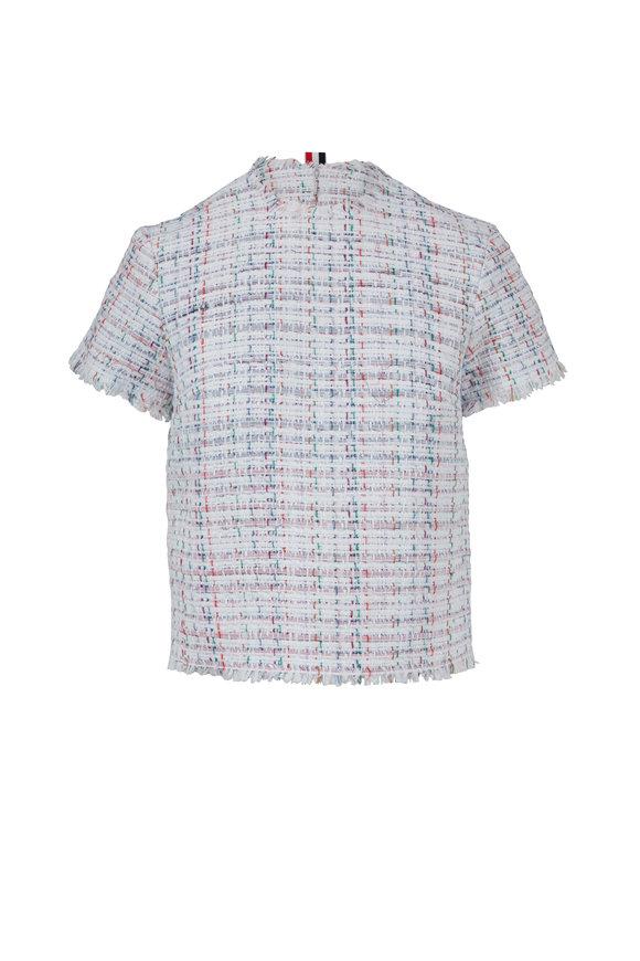Thom Browne White Tweed Frayed Short Sleeve Top