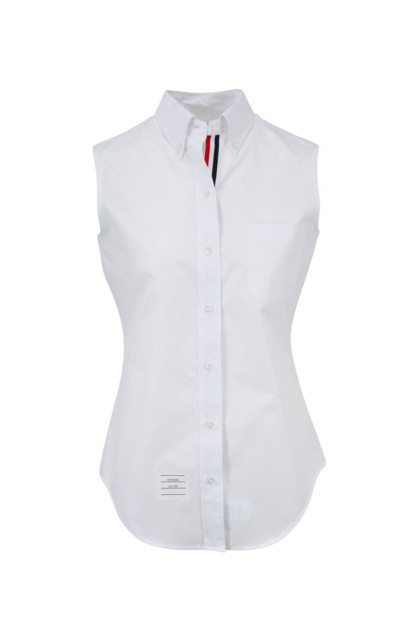 Thom Browne Classic White Poplin Sleeveless Shirt