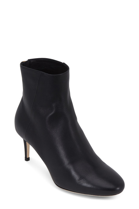 Jimmy Choo Duke Black Grained Leather Bootie, 65mm