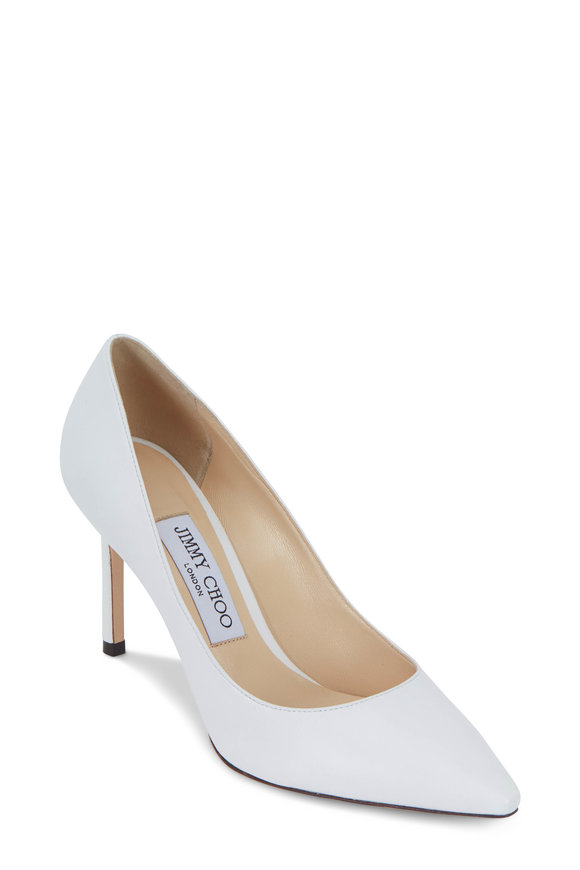 Jimmy Choo Romy Optic White Leather Pump, 85mm