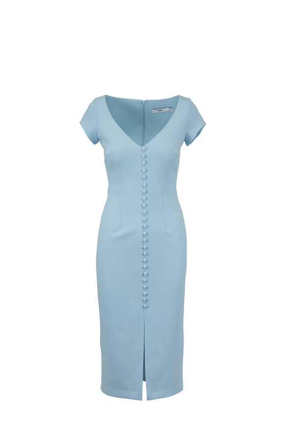 Safiyaa Baby Blue Button Front Dress