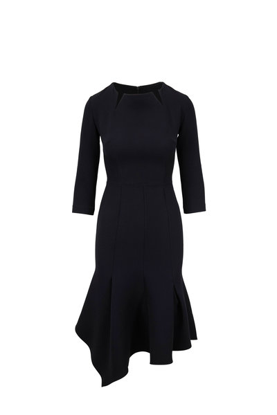 Safiyaa - Noelle Black Notched Neckline Dress