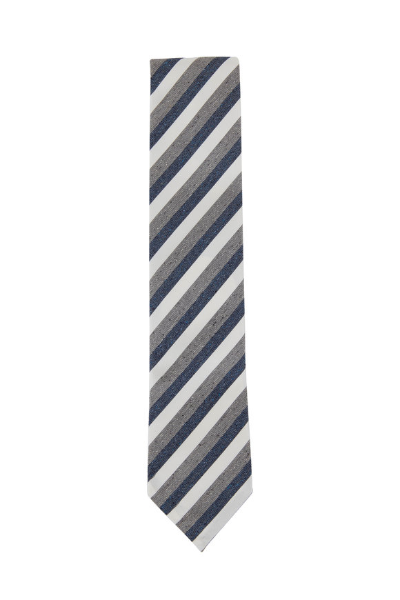 Eton Navy & Gray Diagonal Striped Silk & Cotton Necktie