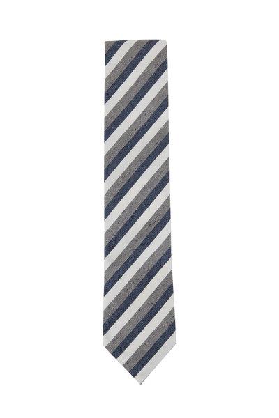 Eton - Navy & Gray Diagonal Striped Silk & Cotton Necktie