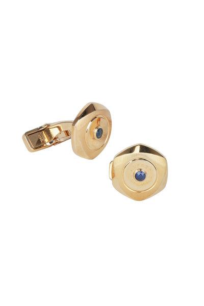 Dunhill - Hexagon Gold Plated & Sapphire Cuff Links