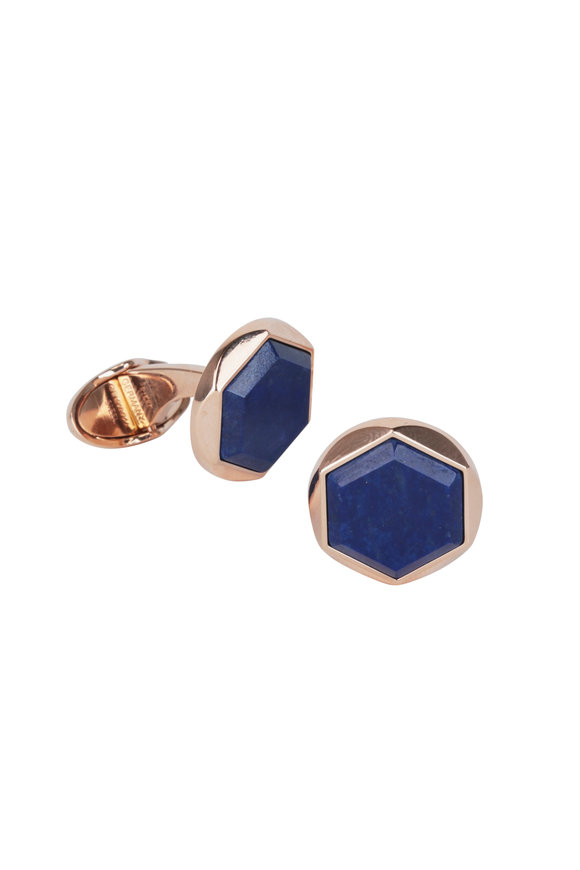 Dunhill Hexagonal Lapis Rose Gold Cuff Links