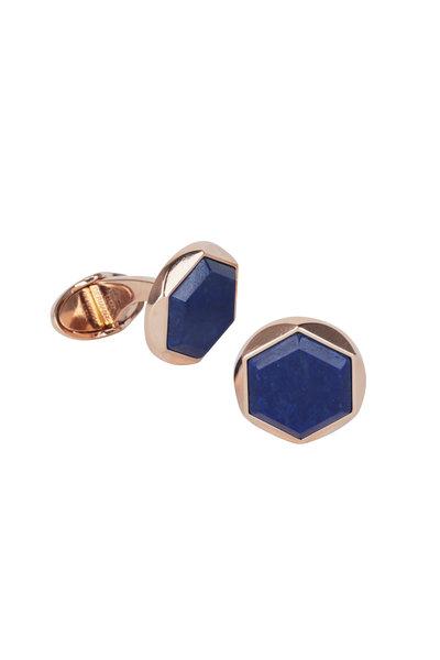 Dunhill - Hexagonal Lapis Rose Gold Cuff Links