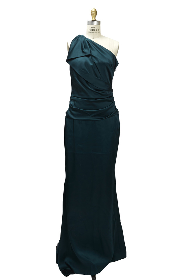 Green One Shoulder Gown