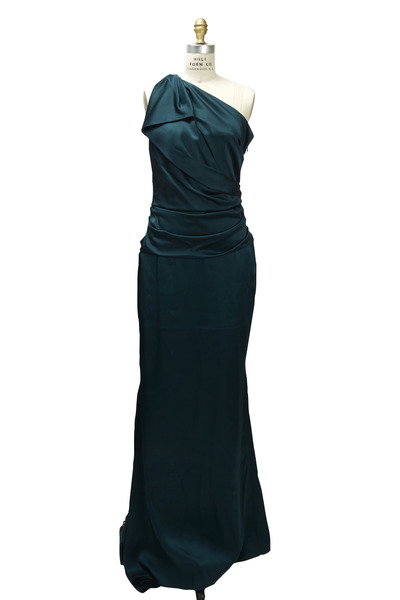 Talbot Runhof - Green One Shoulder Gown