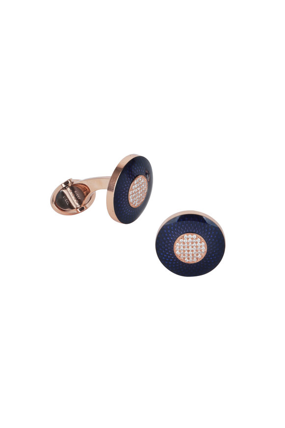 Dunhill Engine-Turn Blue & Rose Gold Diamond Cuff Links
