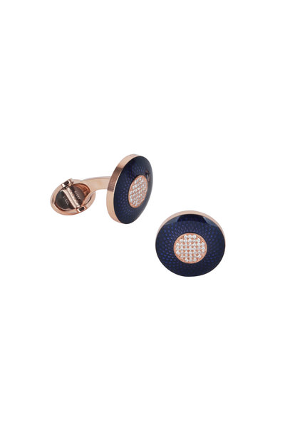 Dunhill - Engine-Turn Blue & Rose Gold Diamond Cuff Links