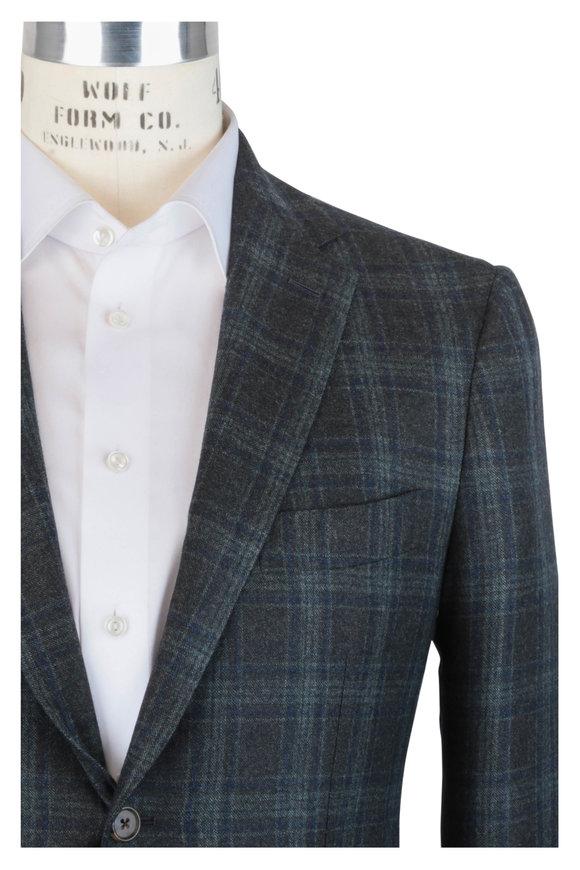 Mauro Blasi Olive Green Plaid Wool Sportcoat