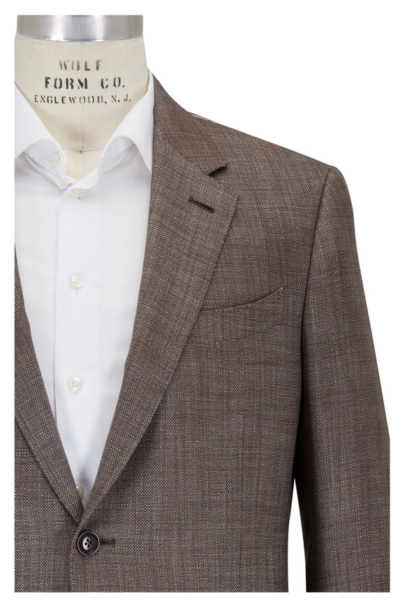 Ermenegildo Zegna Brown Basketweave Wool & Silk Sportcoat