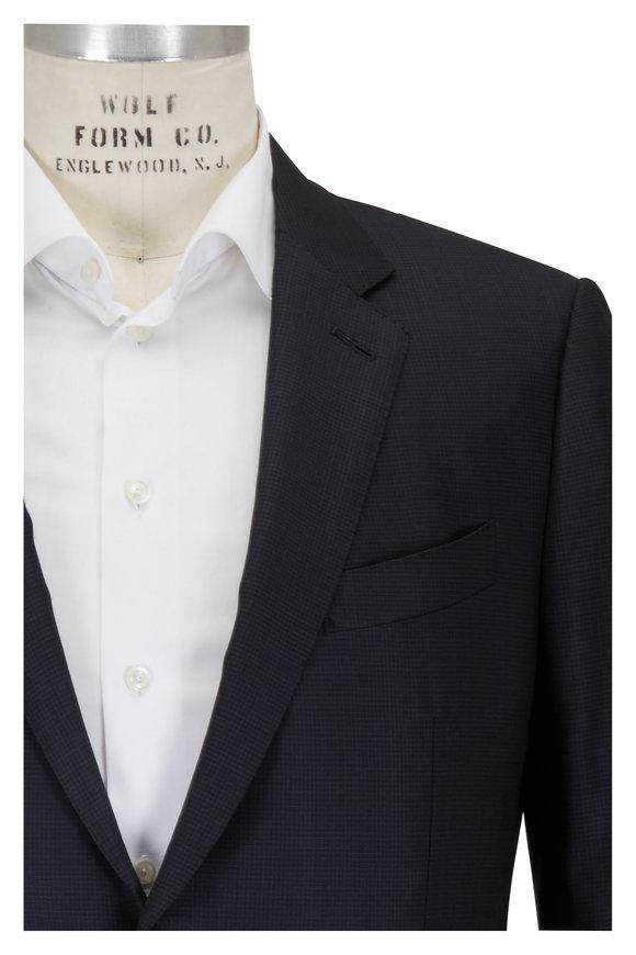 Ermenegildo Zegna Charcoal Gray Mini Check Wool & Silk Suit