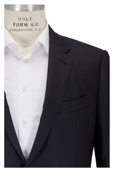 Ermenegildo Zegna - Charcoal Gray Mini Check Wool & Silk Suit