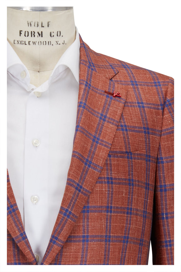 Isaia Orange & Blue Plaid Wool, Silk & Linen Sportcoat