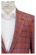 Isaia - Orange & Blue Plaid Wool, Silk & Linen Sportcoat