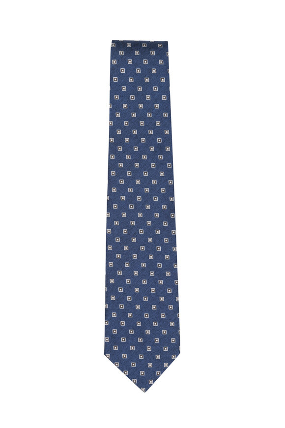 Isaia Blue & Brown Geometric Silk Necktie