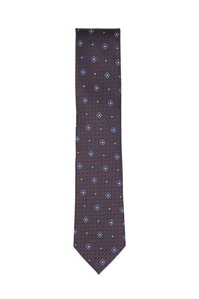 Ermenegildo Zegna - Burgundy & Blue Medallion Silk Necktie