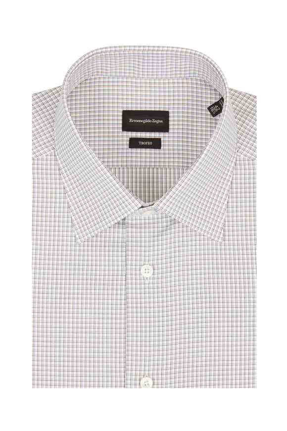 Ermenegildo Zegna Trofeo Olive Check Dress Shirt
