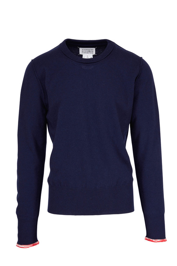 Maison Margiela Blue With Red Tipping Cashmere Sweater