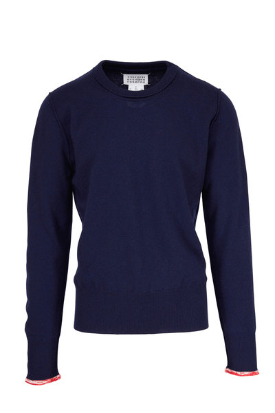 Maison Margiela - Blue With Red Tipping Cashmere Sweater