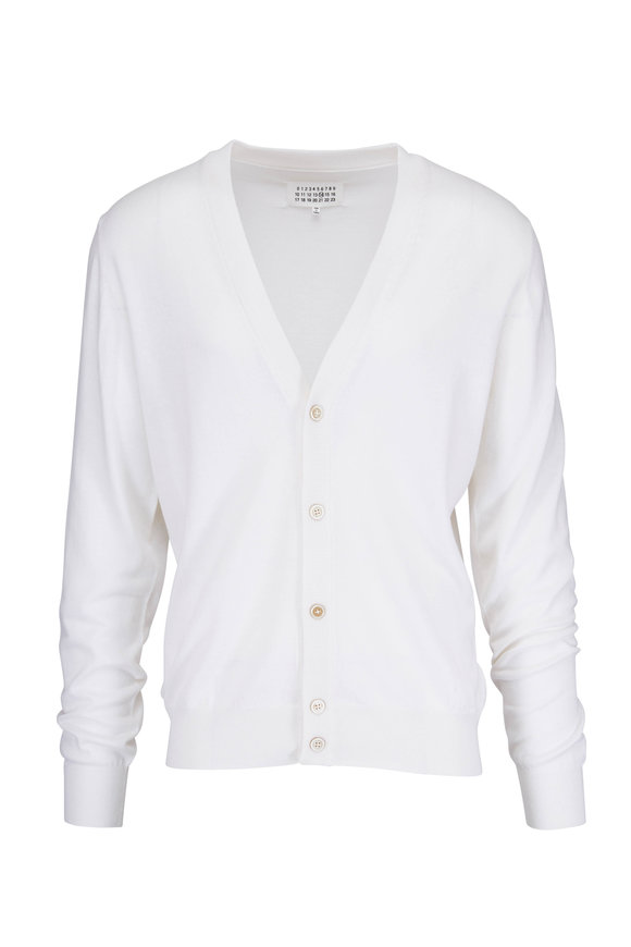 Maison Margiela White Cotton & Wool Elbow Patch Cardigan