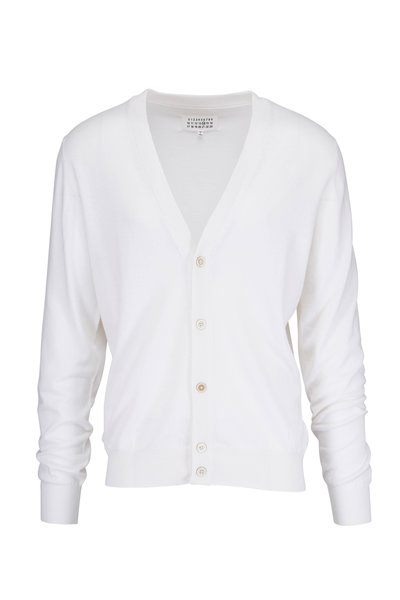 Maison Margiela - White Cotton & Wool Elbow Patch Cardigan