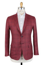 Kiton - Red & Brown Windowpane Cashmere & Silk Sportcoat