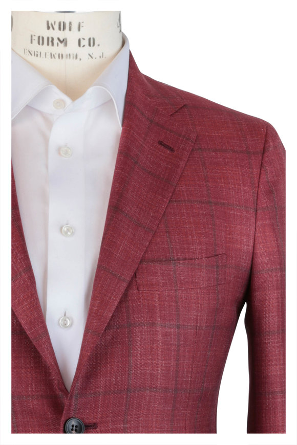 Kiton Red & Brown Windowpane Cashmere & Silk Sportcoat