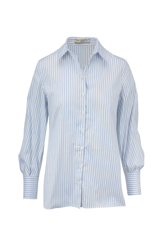 Rani Arabella Light Blue & White Striped Cotton Hi-Low Blouse