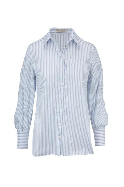 Rani Arabella - Light Blue & White Striped Cotton Hi-Low Blouse