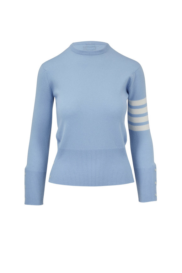 Thom Browne Classic Light Blue Cashmere Four Bar Sweater
