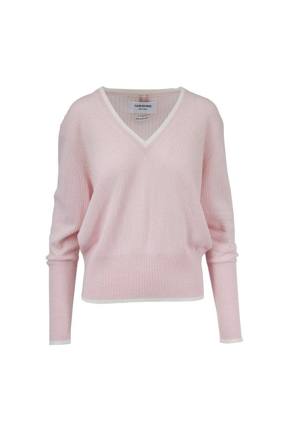 Thom Browne Light Pink Cashmere Deep V-Neck Sweater