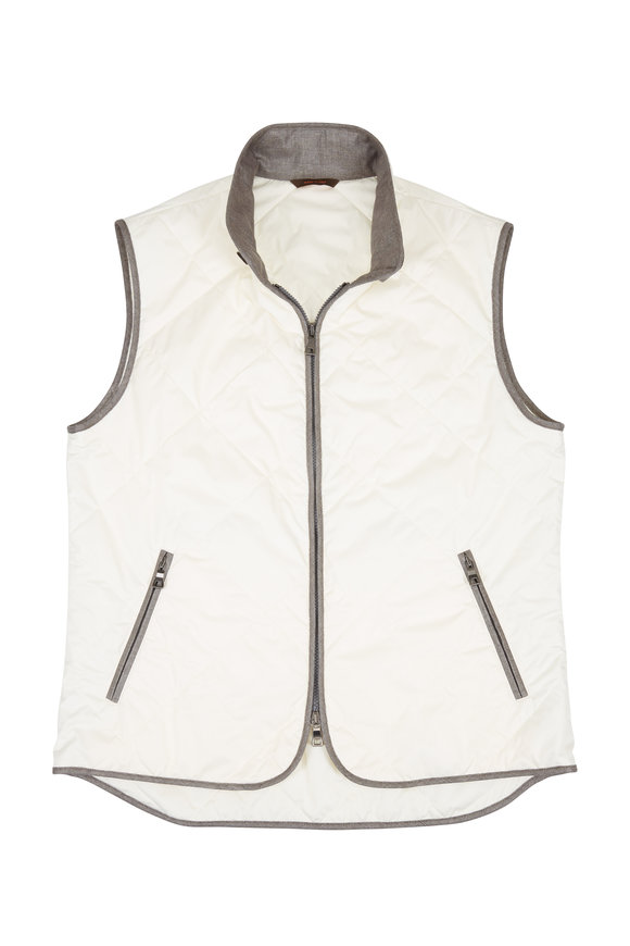 Waterville White Quilted Vest