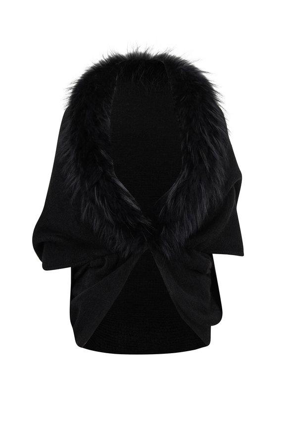 Viktoria Stass Kendal Black Fur Trim Cape