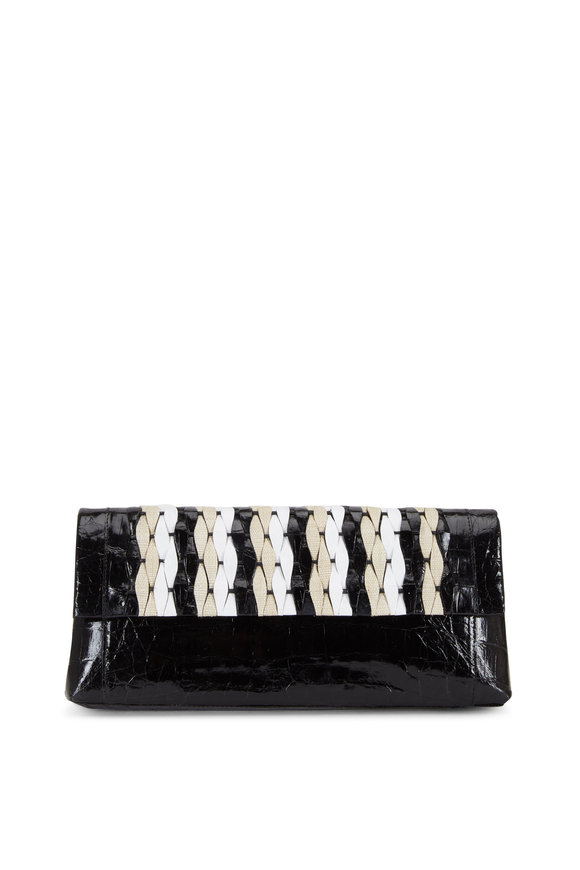 Nancy Gonzalez Black Crocodile & Natural Straw Woven Clutch