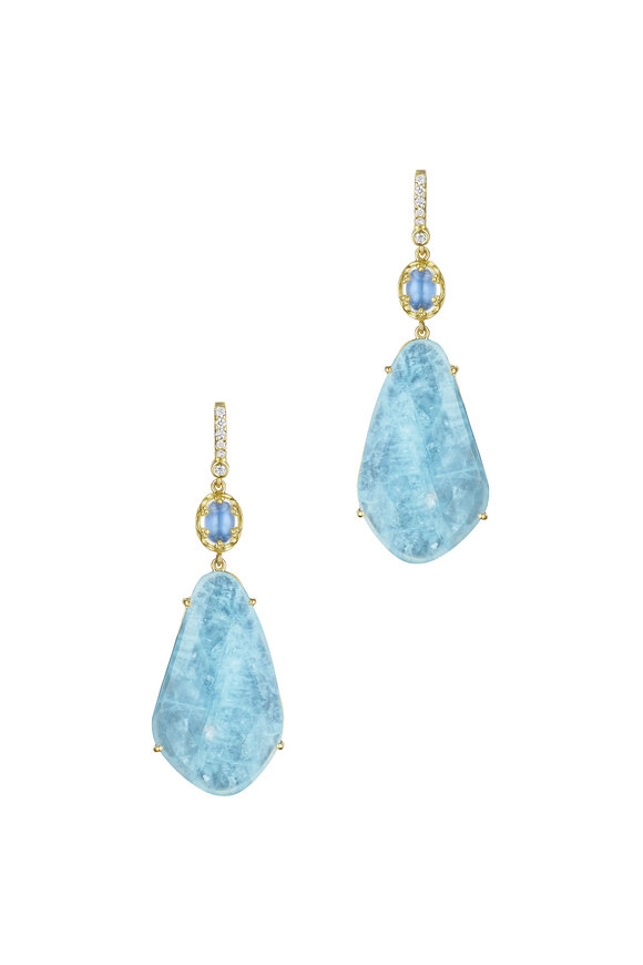 Penny Preville Moonstone Aquamarine Diamond Earrings