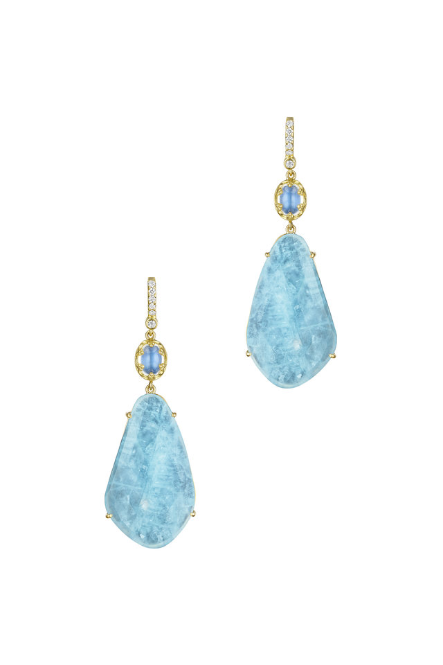 Moonstone Aquamarine Diamond Earrings
